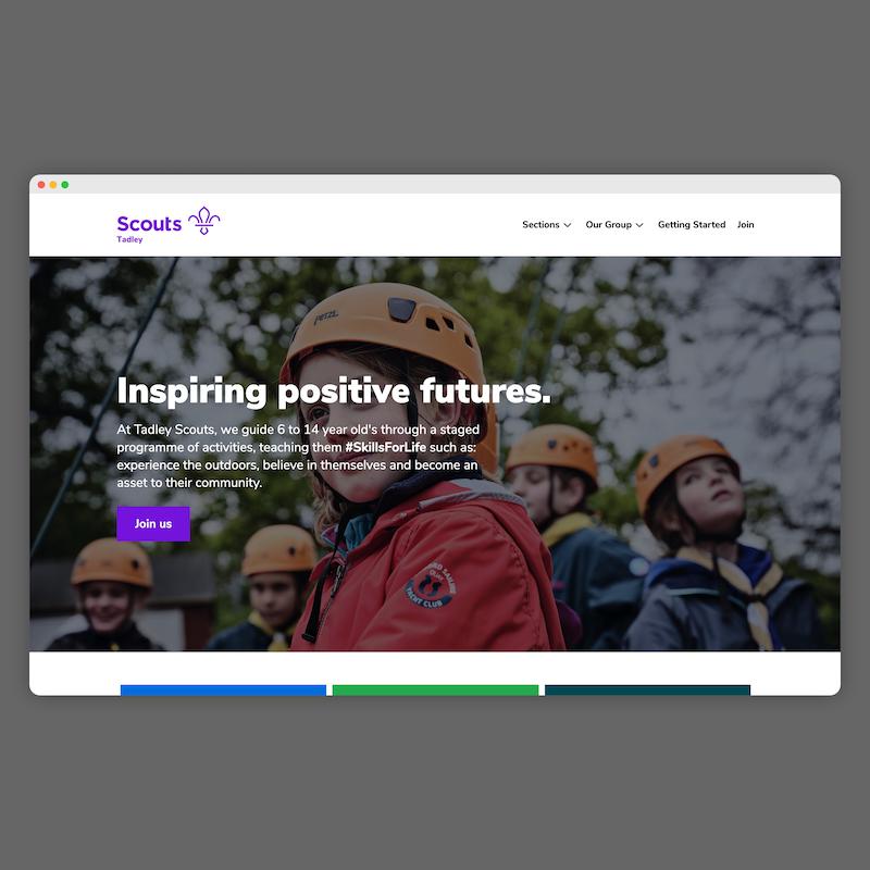 Screenshot of our new website
