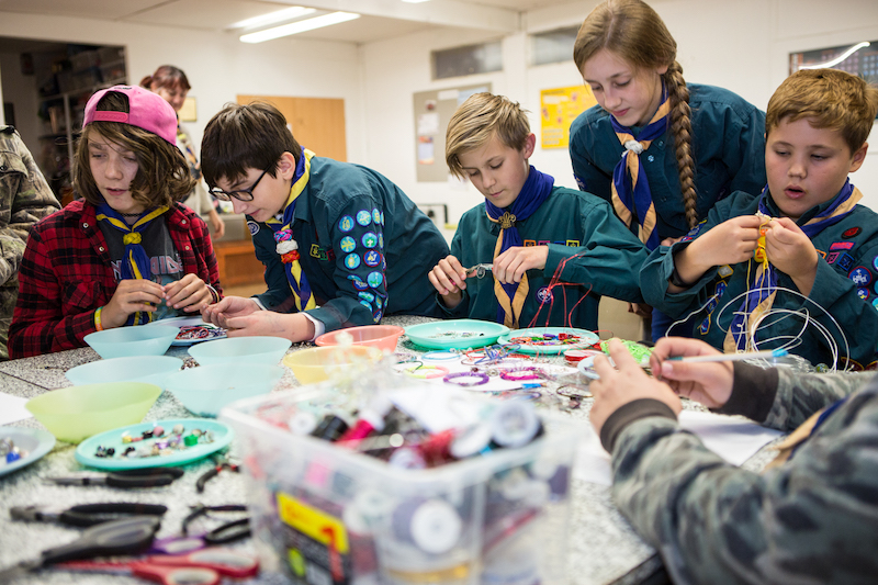 Scouts working on a craft activity