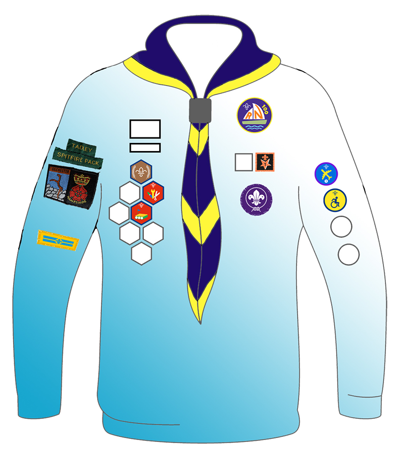 A diagram of the Beaver Scout uniform showing badge placement