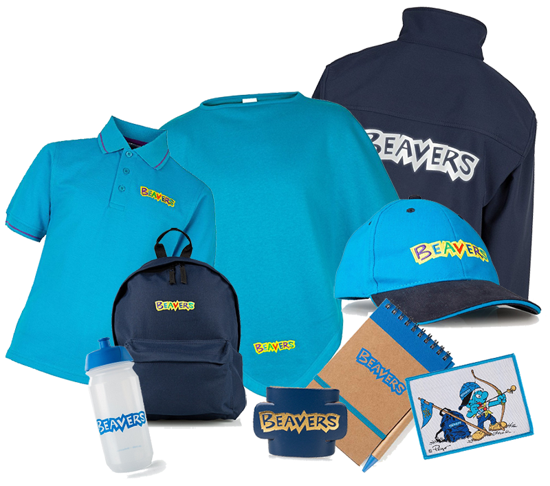 A selection of merchandise available for the Beaver Scouts