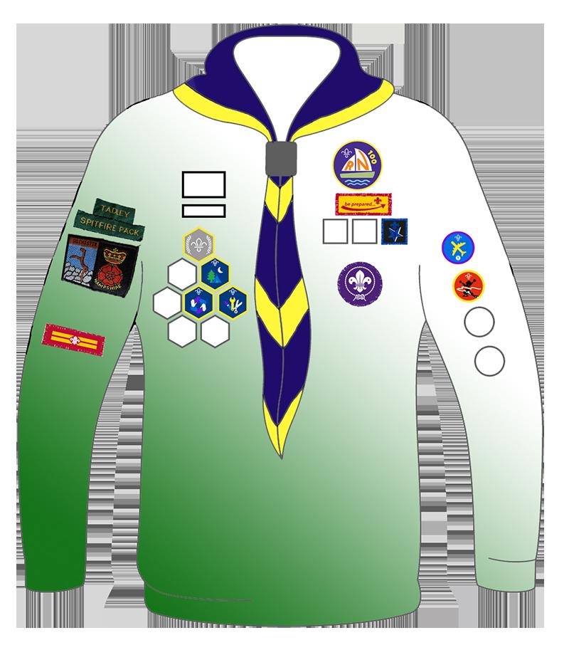 A diagram of the Cub Scout uniform showing badge placement