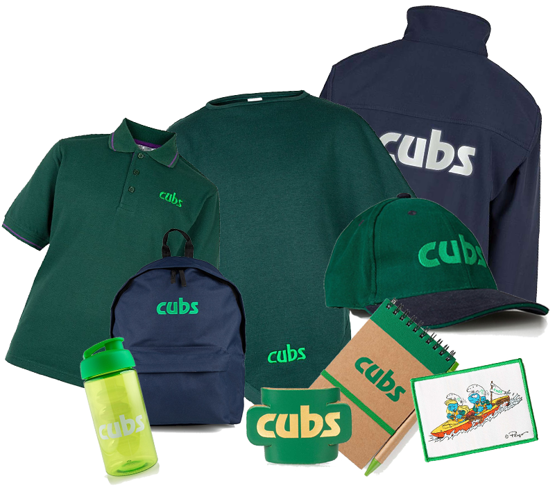 A selection of merchandise available for Cub Scouts