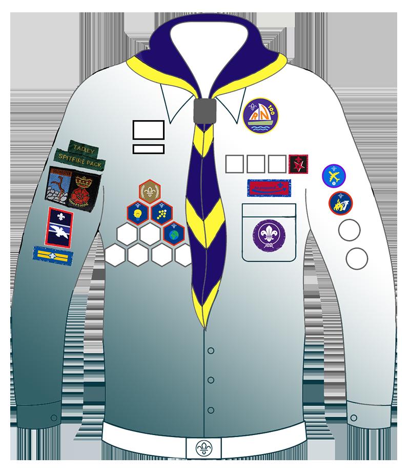 A diagram of the Scout uniform showing badge placement