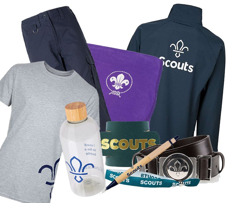 A selection of merchandise available for the Scout section