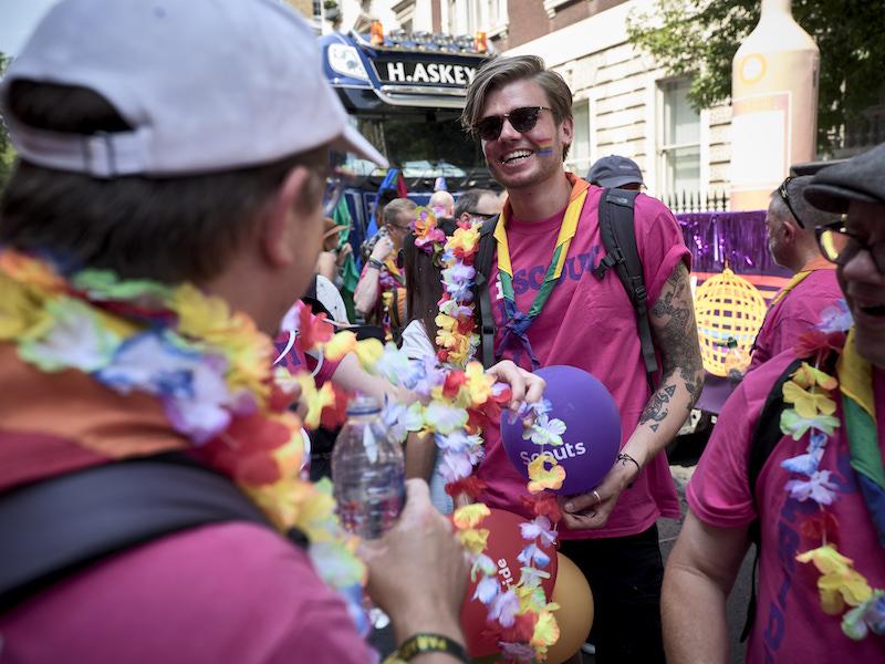 Some adult volunteers attending London Pride
