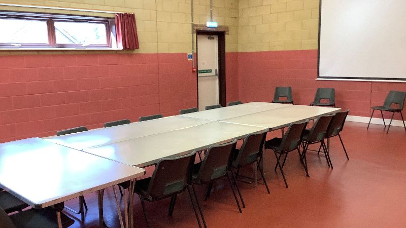The Brian Spray hall set out with a central table, meeting room style
