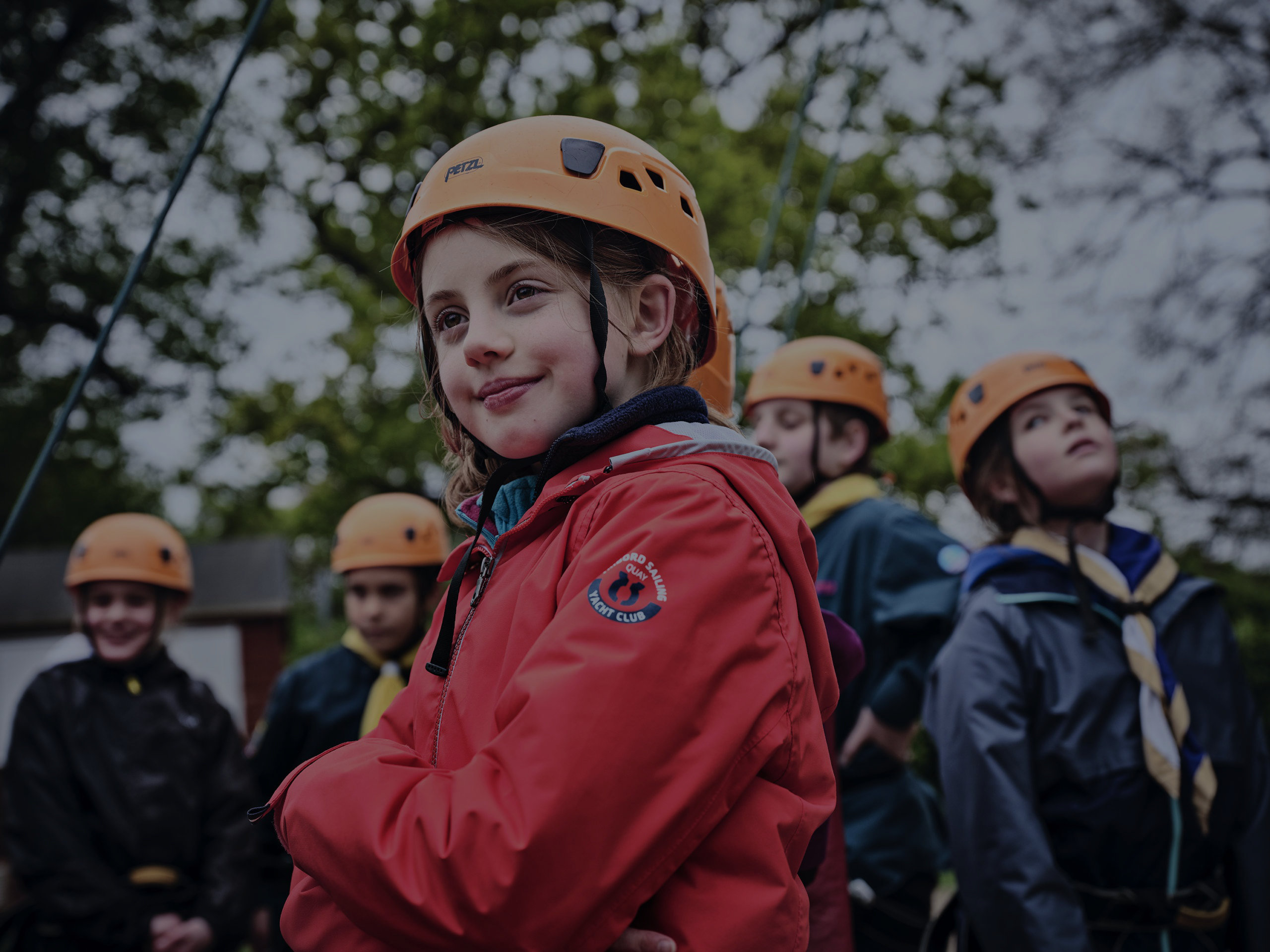 Group of Scouts in climbing helmets