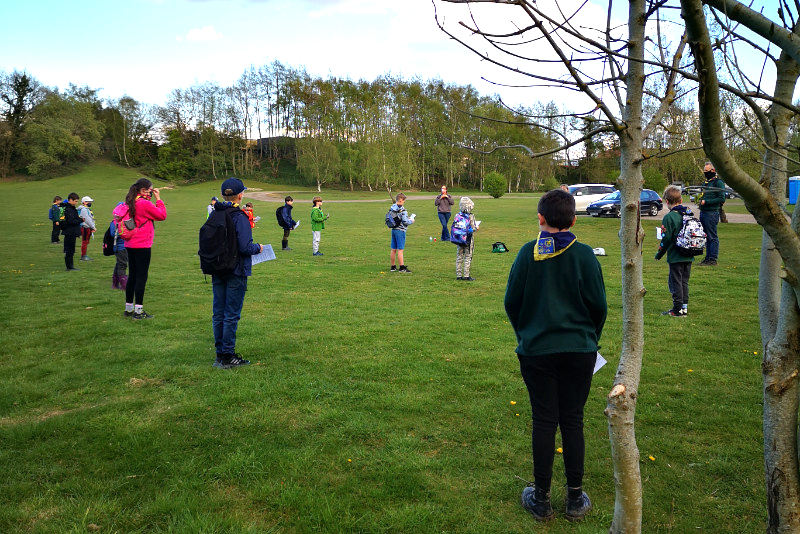 Cub Scouts stood in rows outdoors for an activity